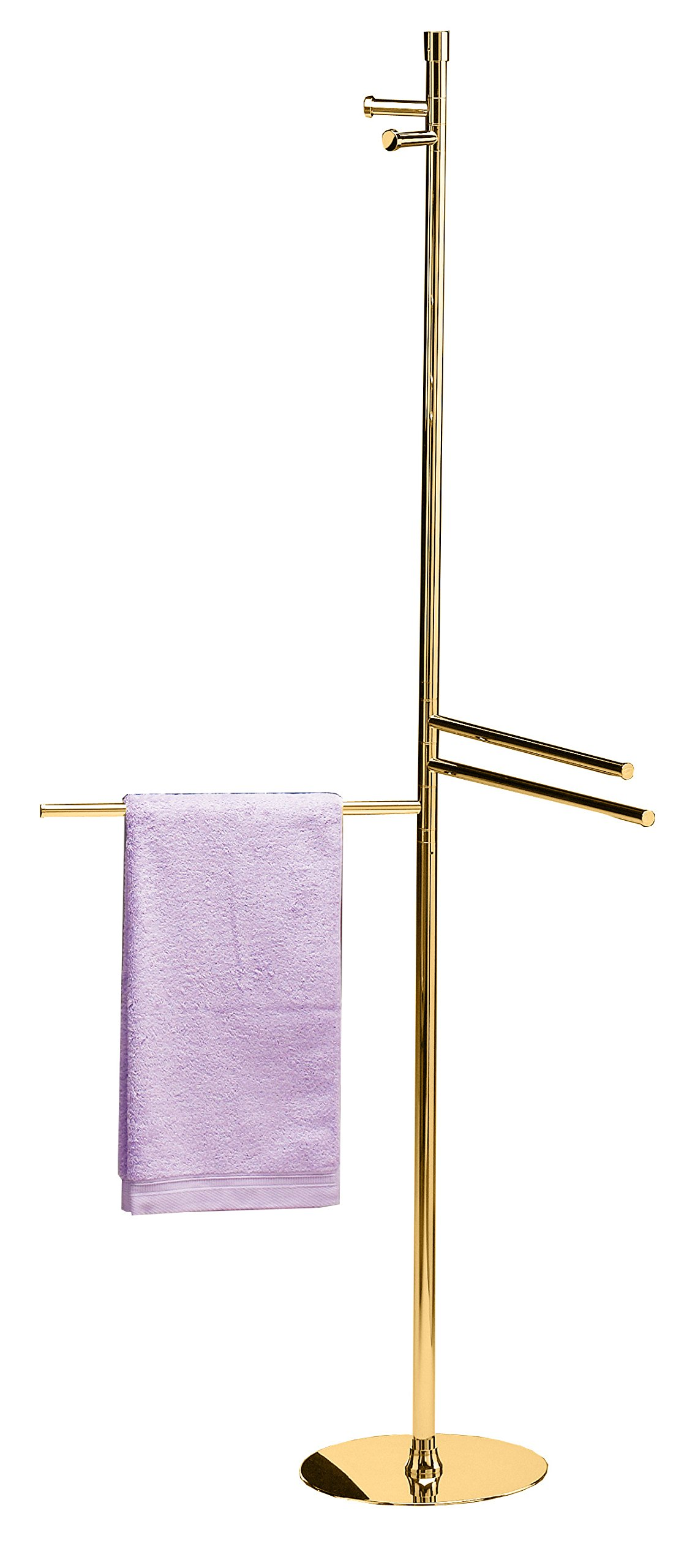 Floor Standing Coat Towel Rack 2-hook Stand Bar 3-tier Towel Bar, Brass (Polished Gold)