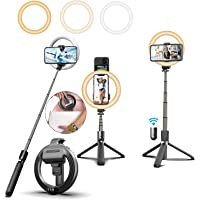 "Selfie Stick with 6"" Ring Light,Tripod and Phone Holder,3 in 1 Portable LED Fill Light Selfie Stick Tripod Bluetooth…"