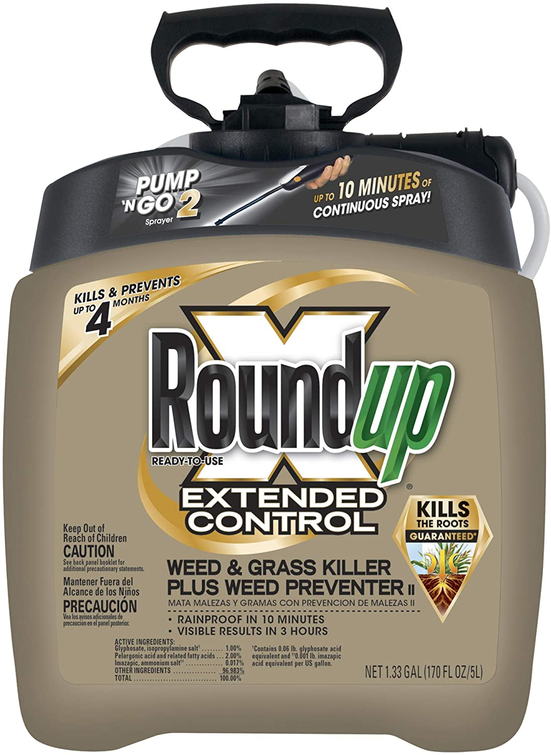 Roundup Ready-To-Use Extended Control Weed & Grass Killer Plus Weed Preventer II with Pump 'N Go 2, 1.33 gal.