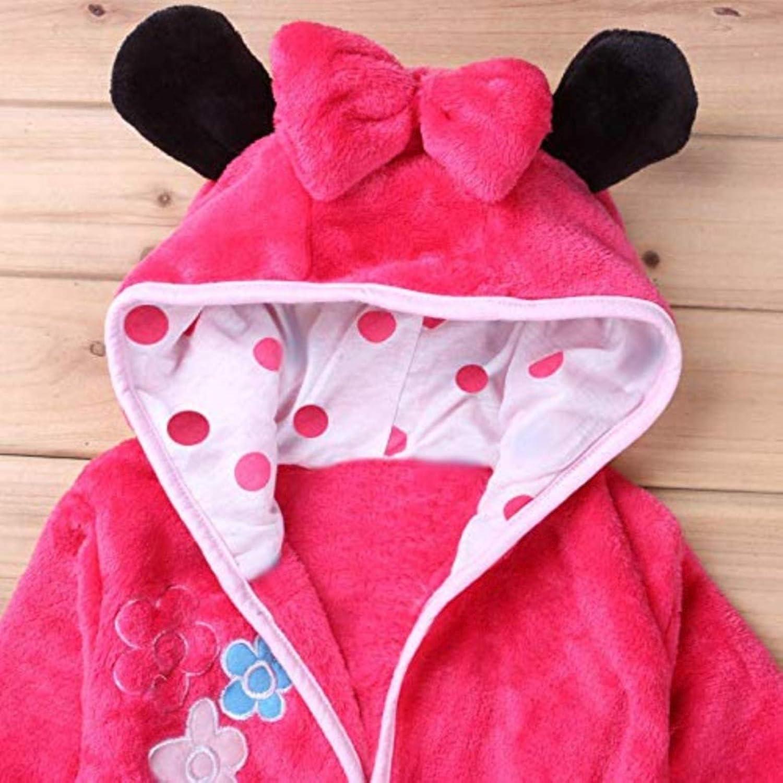 Rose Pyjama Robe de Chambre pour Chambre KIRALOVE Souris avec Capuche Peignoir Personnages Fille Nuit Molleton Doux
