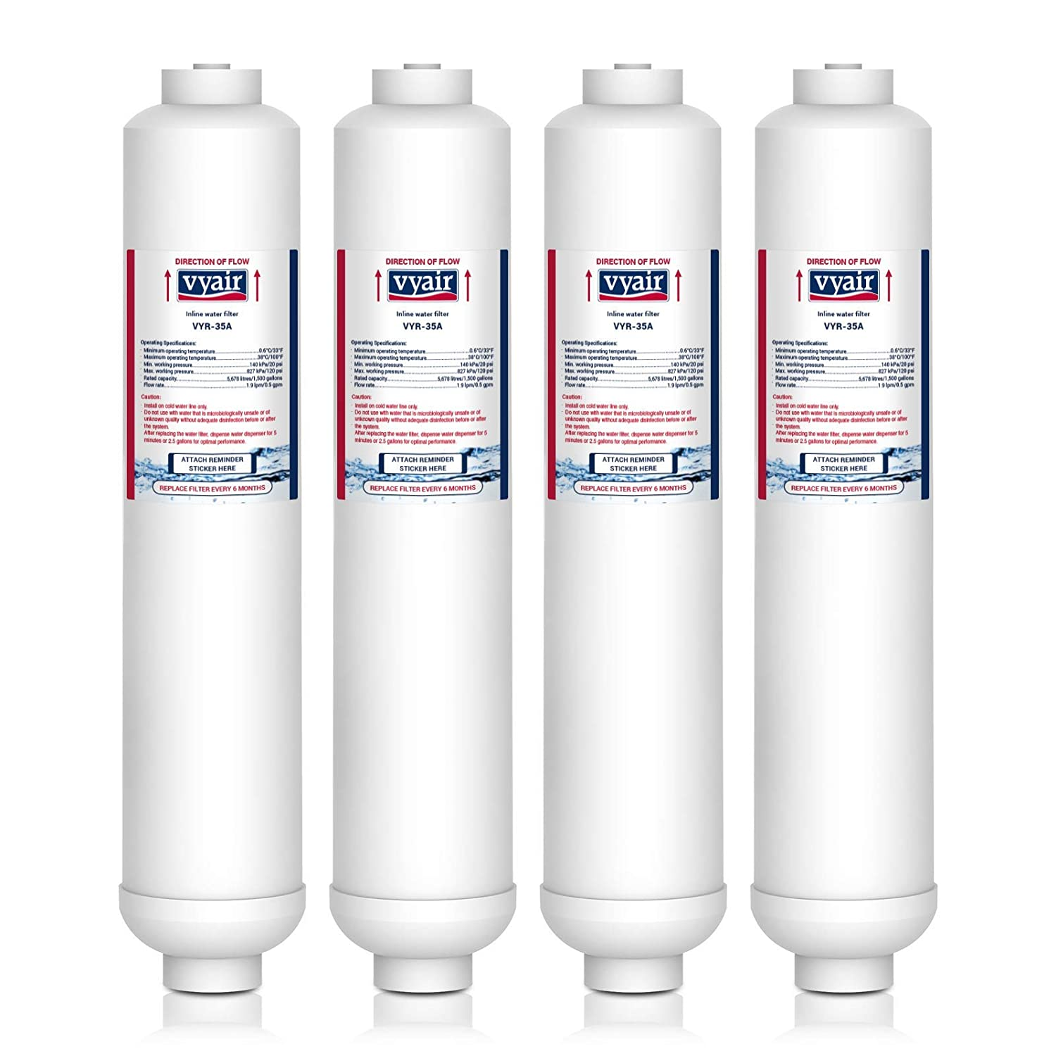 4 x VYAIR VYR-35A Ice & Water Refrigerator Filter to fit Samsung DA2010CB, DA29-10105C, DA29-10105E, DA29-10105J, EF-9603, HAFEX-EXP, K32010CB, K3MFC2010F, Magic Water Filter, WSF-100, WSF100 v2