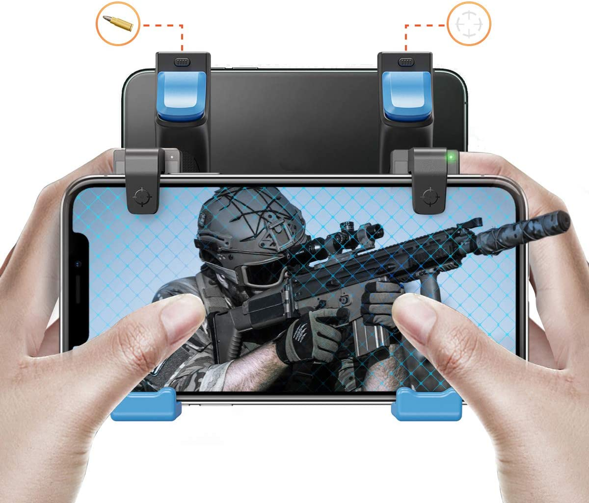 IFYOO MGT108 Mobile Game Controller Gaming Trigger Button Compatible with PUBG Mobile/Fortnitee Mobile/Call of Duty Mobile, Compatible with Android Phone & iPhone - BlueX2