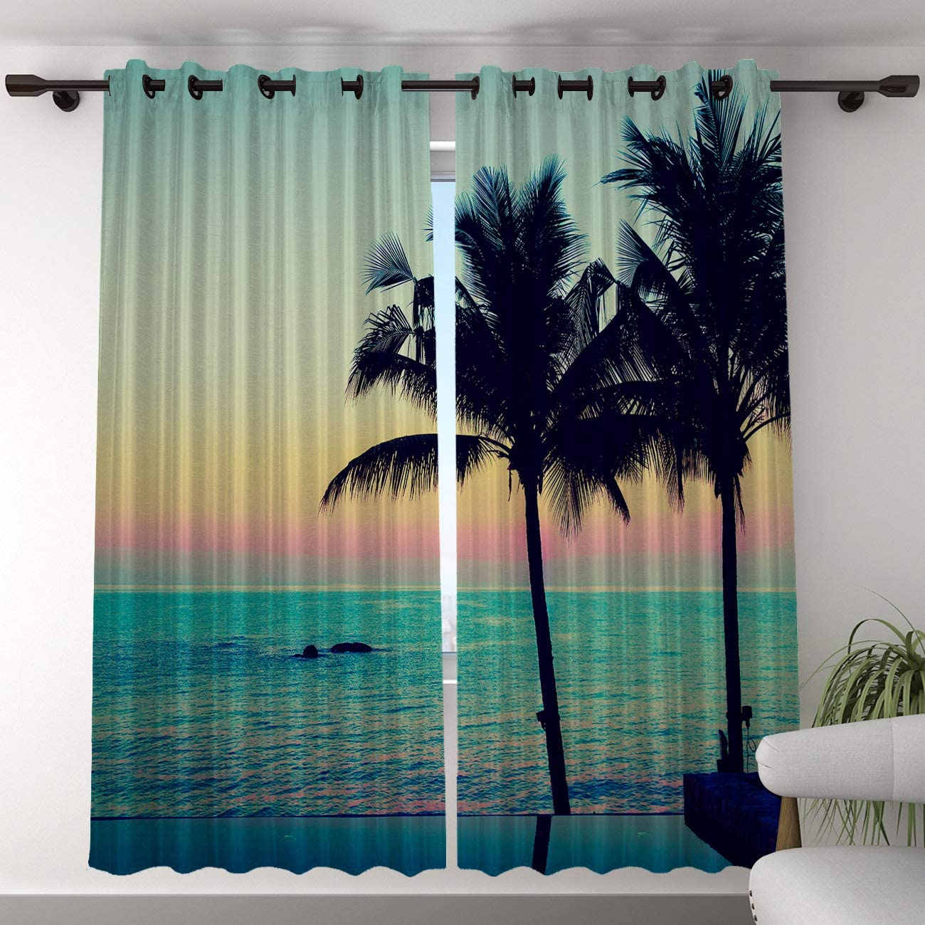 T H Home Blackout Curtain for Bedroom – 96 inch Long Darkening Draperies Curtains – Sunset, Beauty Ocean Scenery with Coconut Tree Silhouette Window Treatment Curtain Drapes