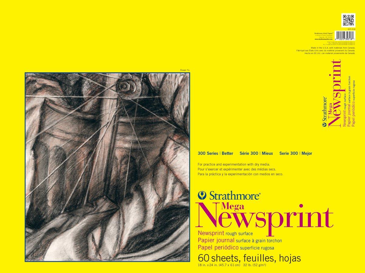 Strathmore 307-318 300 Series Mega Newsprint Pad, Rough 18x24 Tape Bound, 60 Sheets Strathmore Paper