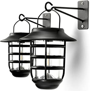 Home Zone Security Solar Wall Lantern Lights - Outdoor 3000K Solar Lantern Lights with No Wiring Required (2-Pack)