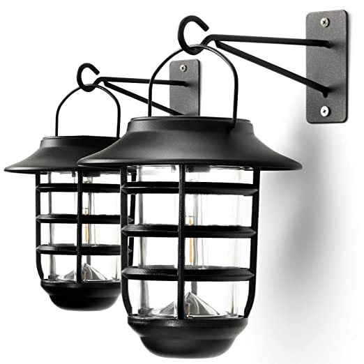 Home Zone Security Solar Wall Lantern Lights - Outdoor 3000K Solar No Wiring Wall Lights on