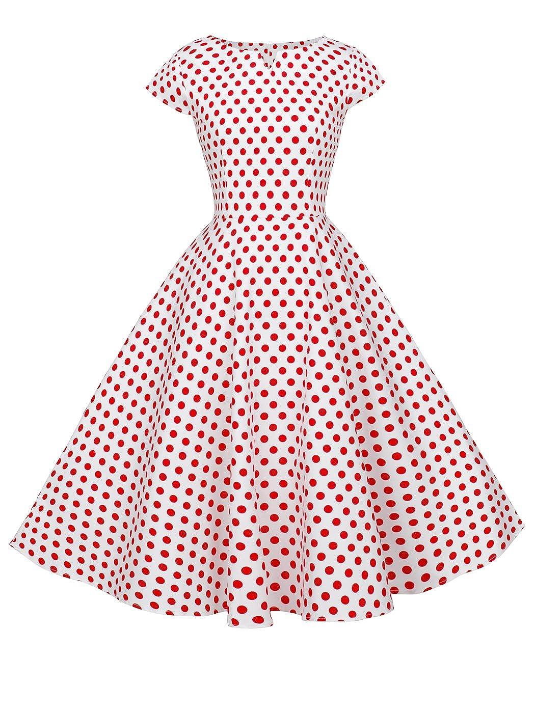 TALLA 4XL. FAIRY COUPLE 1950S Vintage Rockabilly Lunares Cap Mangas Vestido de Baile DRT019 Blanco Pequeña Rojo Puntos 4XL