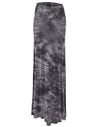 aabb601fb8 Lock and Love Women's Basic Solid Tie Dye Foldable High Waist Floor Length  Maxi Skirt S-3XL Plus Size_Made in U.S.A.
