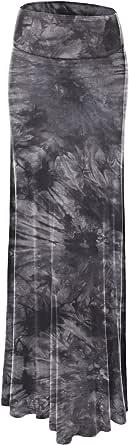 Lock and Love Women's Basic Solid Tie Dye Foldable High Waist Floor Length Maxi Skirt S-3XL Plus Size