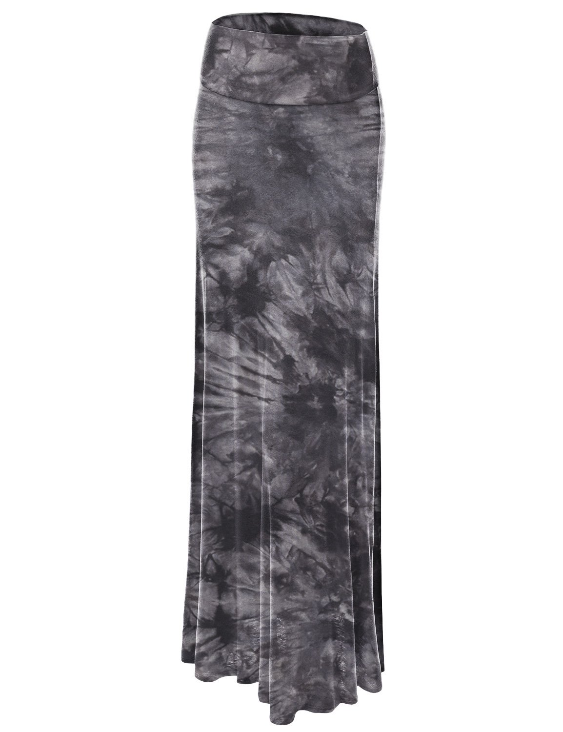 WB1058 Womens Tie Dye Fold Over Maxi Skirt S BLACK