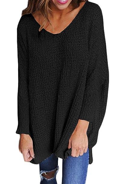 Yacun Mujer Jersey Sudaderas Invierno Suelto Suéter Manga Larga Black S. Pasa ...