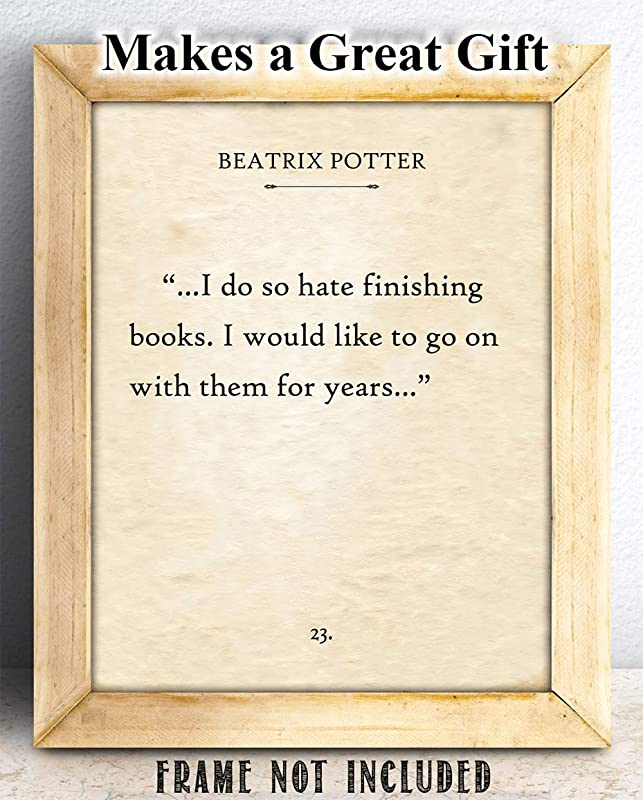 11x14 Unframed Typography Book Page Print Great Gift and Decor I Do So Hate Finishing Books Beatrix Potter
