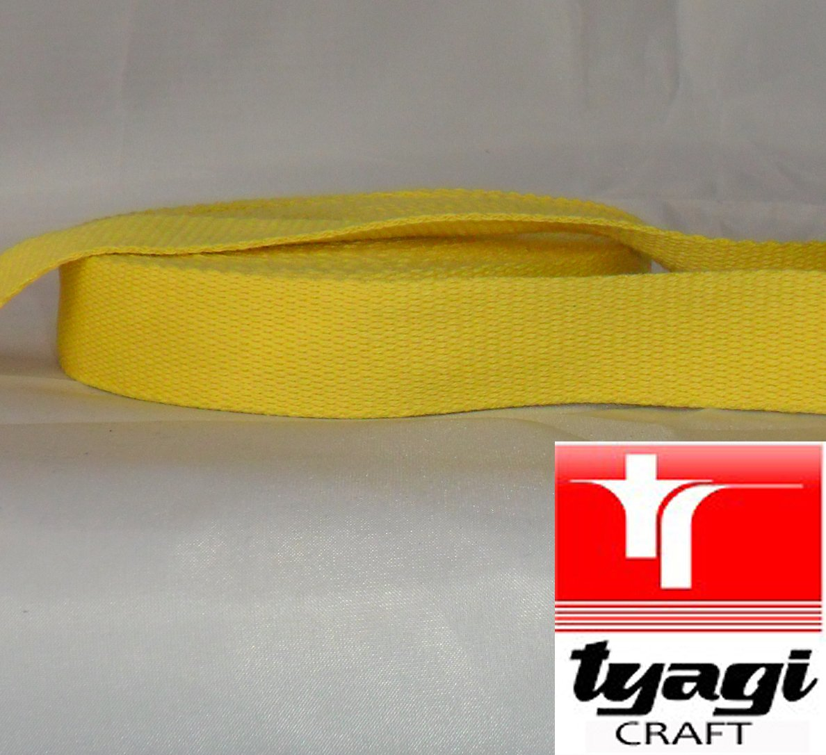 25mm Pure Cotton Tape Strong Thick Webbing Strap Tent Upholestry Bags, Edging, Craft, Dress, Belts Yellow 1MTR Tyagi Craft