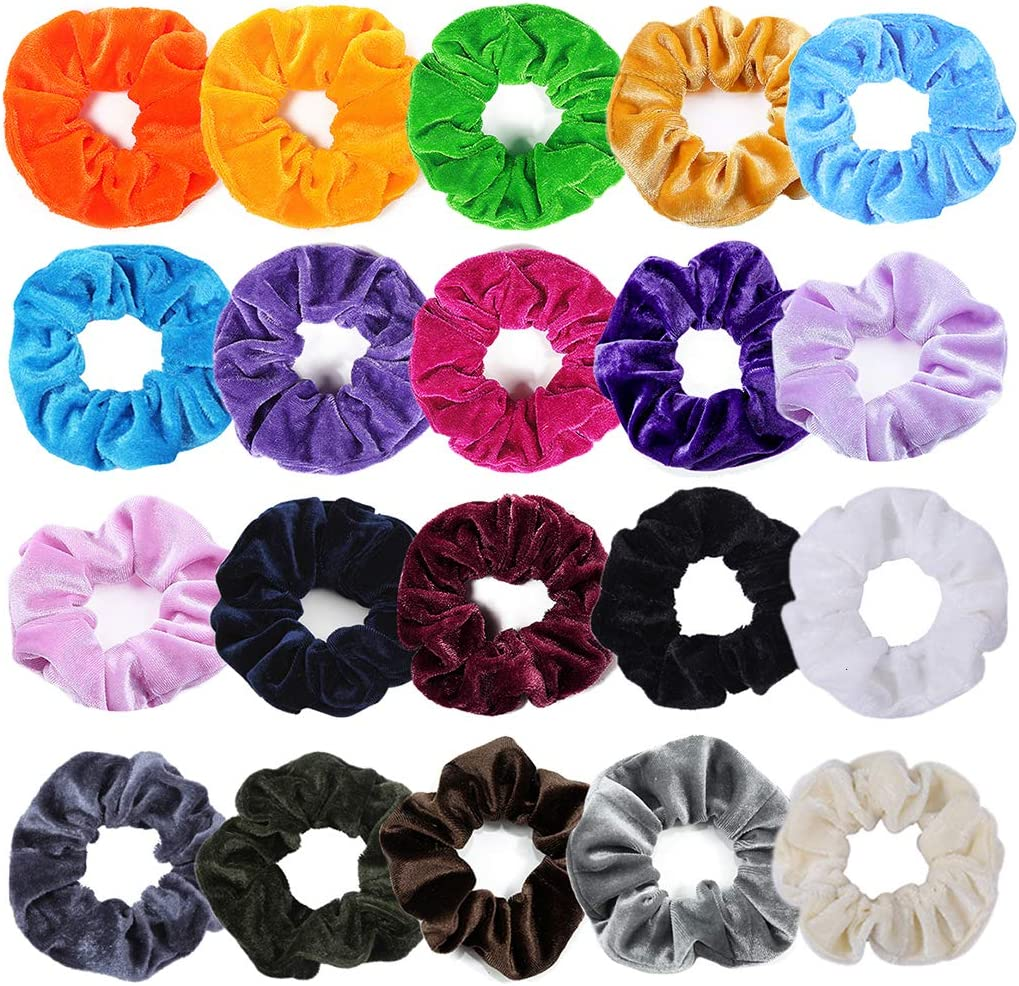Velvet Elástico Scrunchies de Pelo Hair 20 Pack y Colores para Mujeres Chicas Niñas, Gomas del pelo para Cabello Ponytail Titular: Amazon.es: Belleza