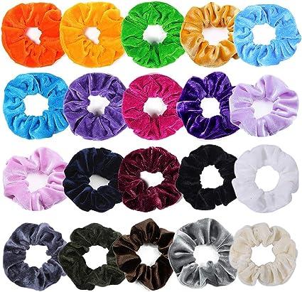 Velvet Elástico Scrunchies de Pelo Hair 20 Pack y Colores para ...