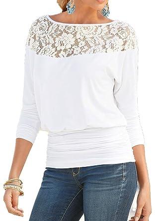 Jusfitsu Damen Loose Spitzen Shirts Langarm Tops Bluse Fledermaus Lace T  Shirts Casual Oberteil Übergröße  Amazon.de  Bekleidung 73cb307ac3
