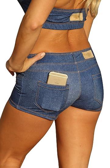 0512e30c4ee9 Amazon.com: UjENA Baby Blue Jean Bikini Short Swimwear: Clothing