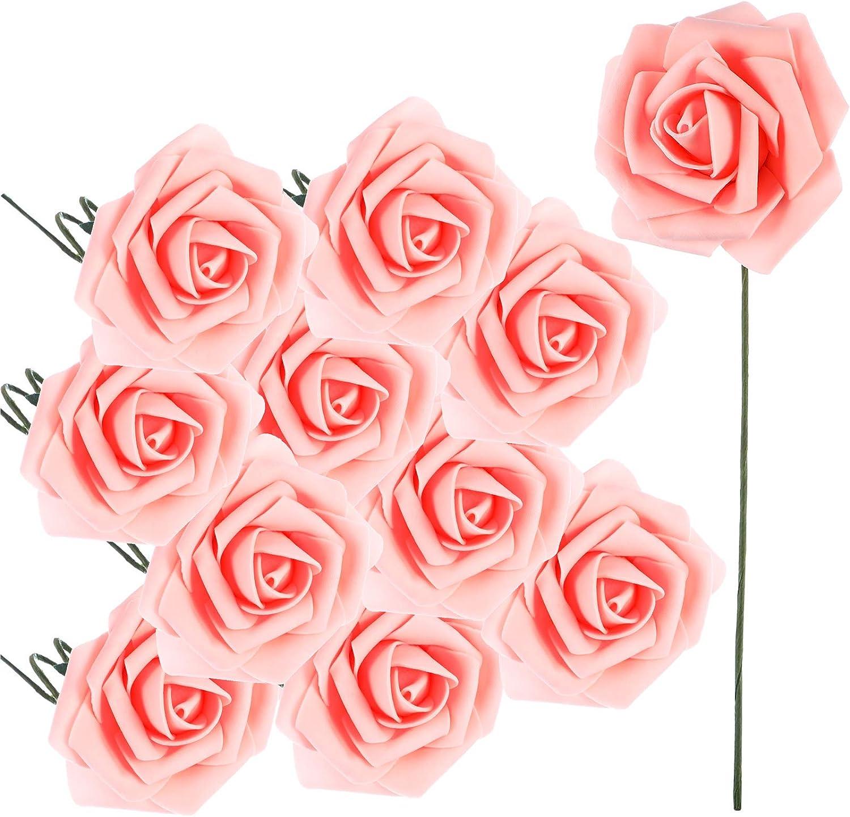 12PCS Rose Wedding  Mini  Artificial Silk Flowers Bouquet Decor Pary Foam DIY