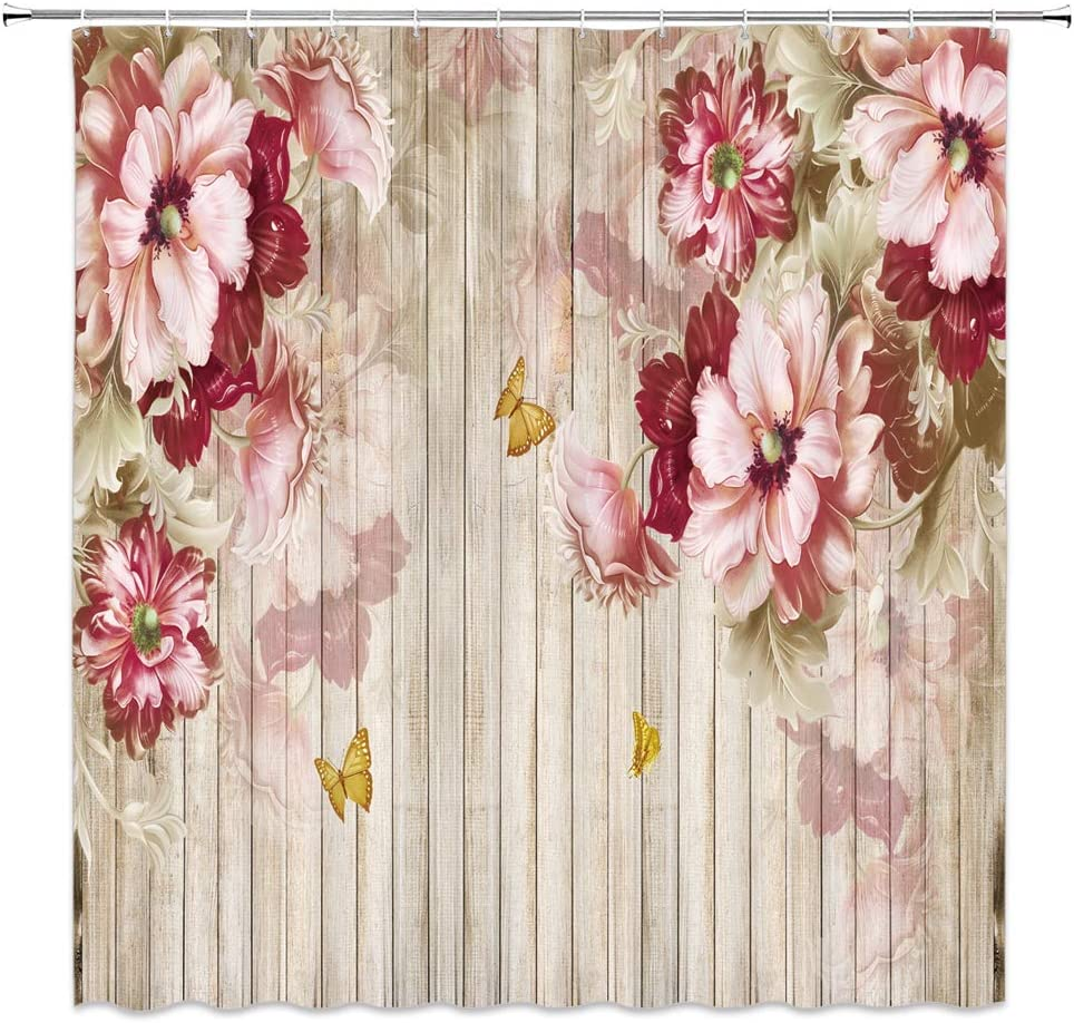 Jingjiji Flower Wooden Shower Curtain Watercolor Peony Antique Spring Bloom Floral Romantic Natural Barn Door Bathroom Decoration Polyester Fabric with Hook 70 x 70 Inch Brown