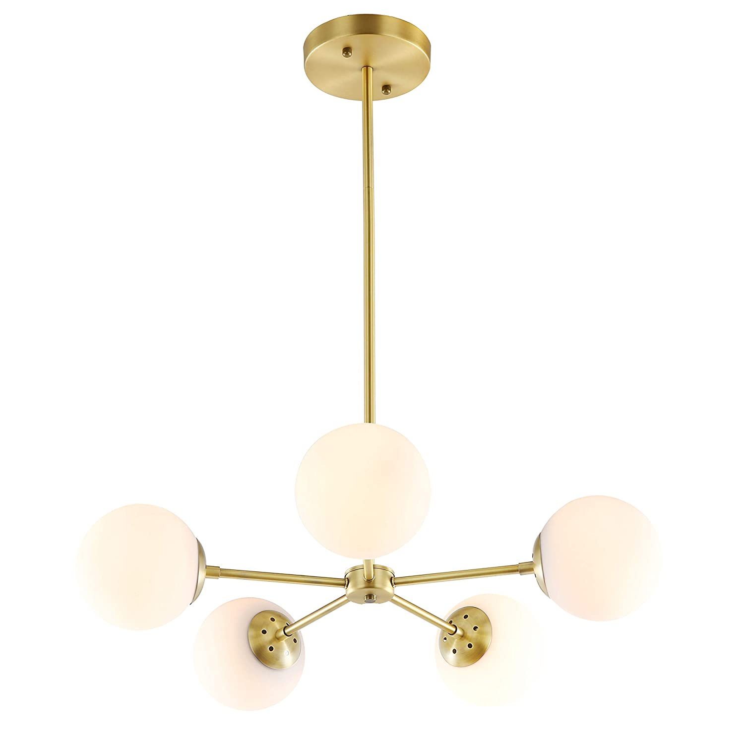 Light Society Grammercy 5-Light Chandelier Pendant, Brushed Brass with White Frosted Globes, Classic Mid Century Modern Lighting Fixture (LS-C228-BRS-WHI)