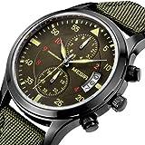 YISUYA Military Nylon Band Chronograph Waterproof Wrist Watches, Army Green Men Sports Quartz Watch