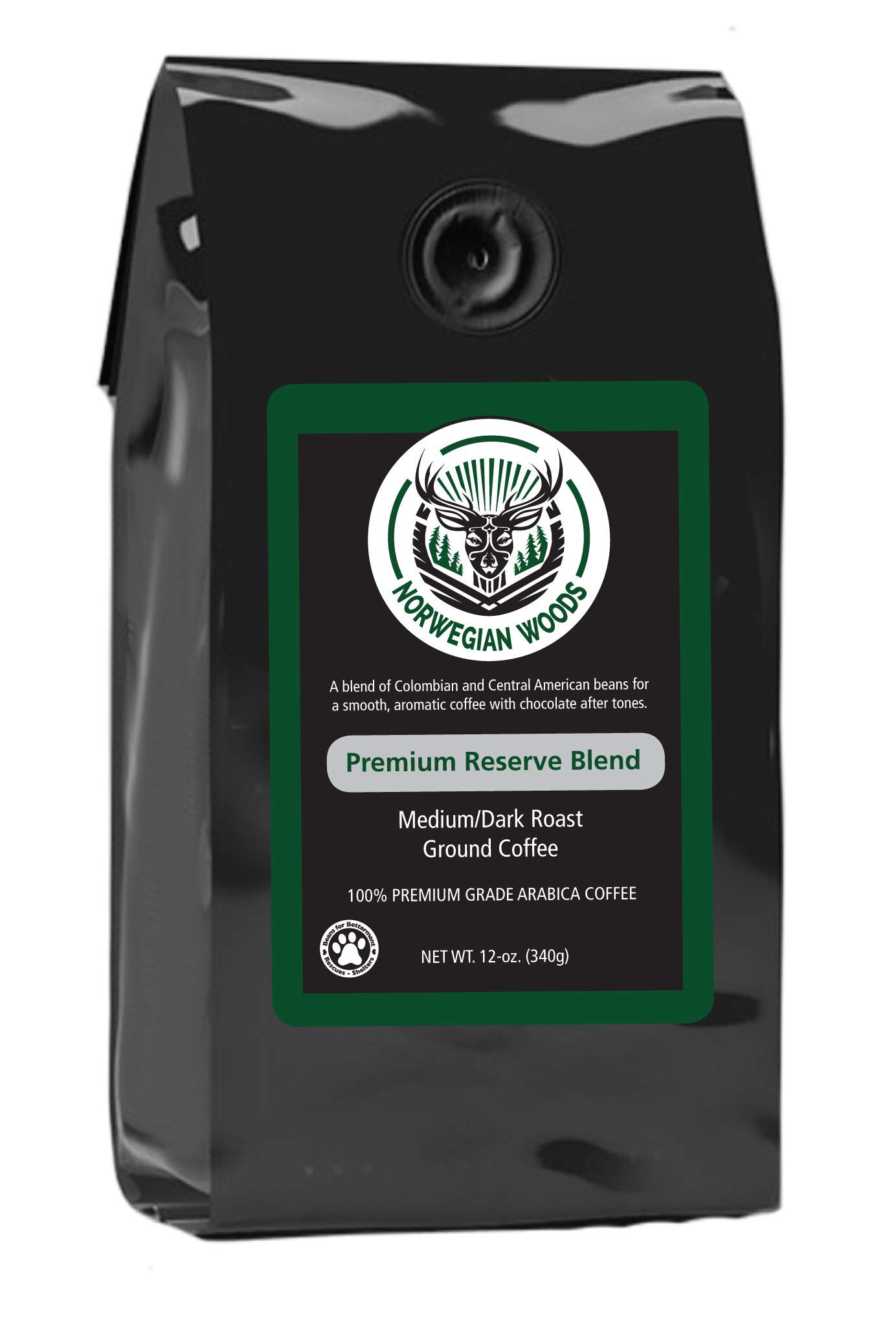 Ground Coffee by Norwegian Woods Coffee, Premium Reserve Blend, Great and Smooth Tasting Medium-Dark Roast Blend, 12 Ounce Bag, 100% Premium Arabica Beans
