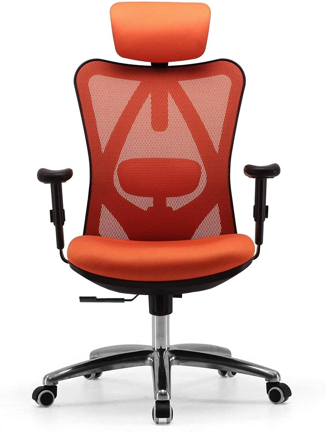 SIHOO Office Chair Ergonomic Office Chair, Breathable Mesh Design High Back Computer Chair, Adjustable Headrest and Lumbar Support (Orange)