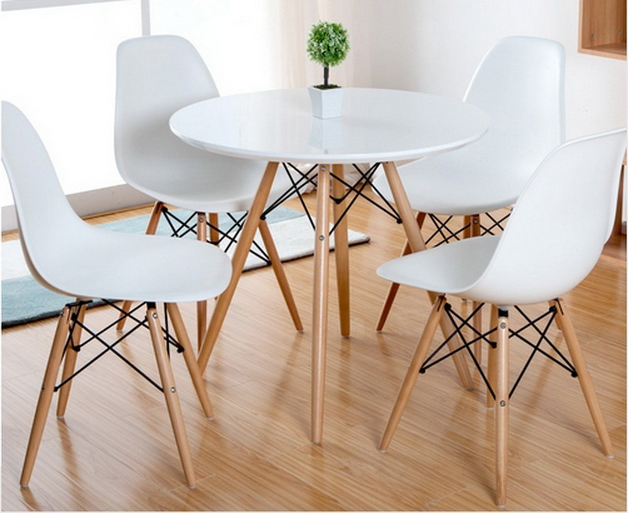 ASPECT Como Round Dining Table With Beech Wood Legs White Amazoncouk Kitchen Home