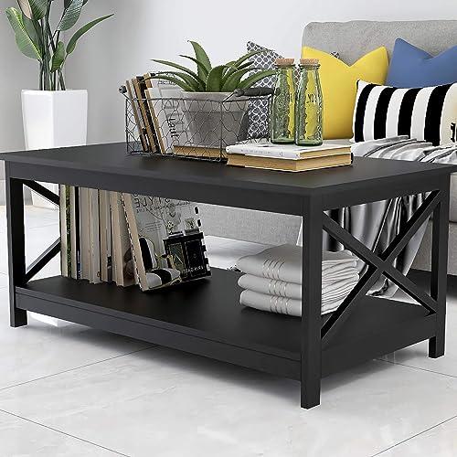 Binrrio Mid Century Modern Coffee Table Industrial Black Center Table