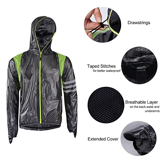 Amazon.com: Rockbros Ultra Lightweight Rain Jacket Saftey Outdoor Waterproof Rain Jacket for Men/Women, Reflective Raincoat Black: Clothing