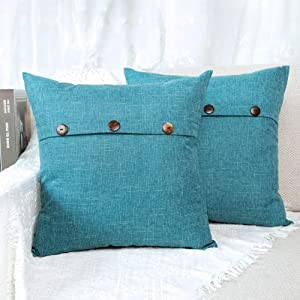 4TH Emotion Set of 2 Triple Button Vintage Throw Pillow Covers Cushion Case Cotton Linen for Farmhouse Home Decor Turquoise, 18 x 18 Inches