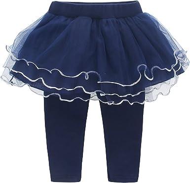 DEBAIJIA Leggings Pantalones con Falda para niñas con Cinta Foral ...