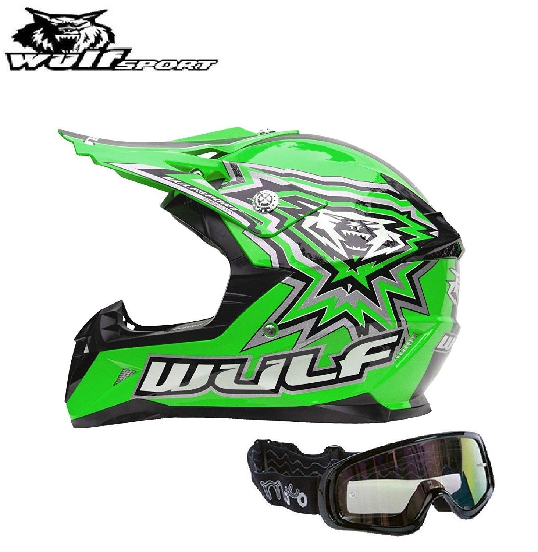 Casque moto enfant WULF FLITE-EXTRA ENFANTS CASQUE Moto Quad MX VTT Sports hors route Casque ECE vert, L X1 Lunettes noires