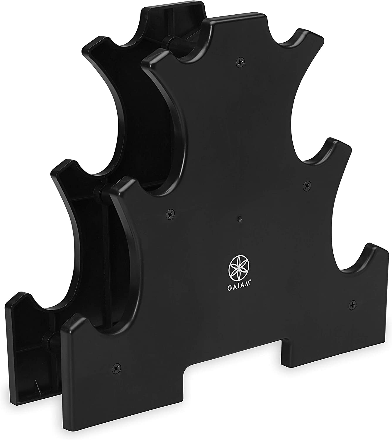 Gaiam Dumbbell Rack - Hand Weight Set Tree - Designed to Hold Neoprene Dumbbells - One Pair Each (3lb, 5lb, 8lb) (Weights Not Included)