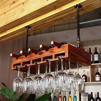 Muebles de Bar Montado en la Pared Botellas de Vino y portavasos, Almacenamiento de Madera