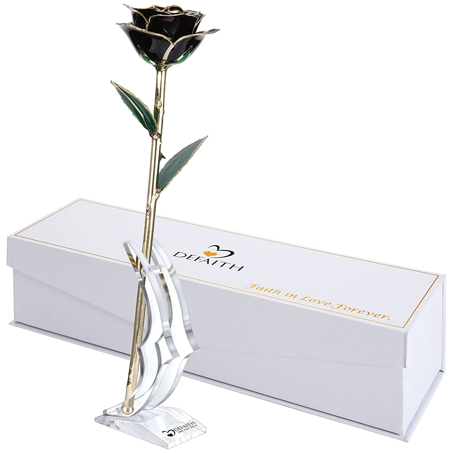 (O.black) - DeFaith Black 24K Gold Rose, Unique Anniversary Gifts for Mother Wife Girlfriend Her Women, Made from Real Rose Flower with Stand B014IZ4S1O O.black