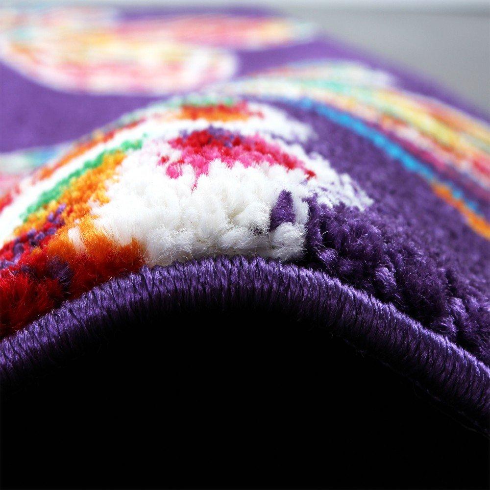 Moderner Kinder Teppich Butterfly Schmetterling Design Design Design in Lila Top Qualität, Grösse 160x230 cm 9078cf