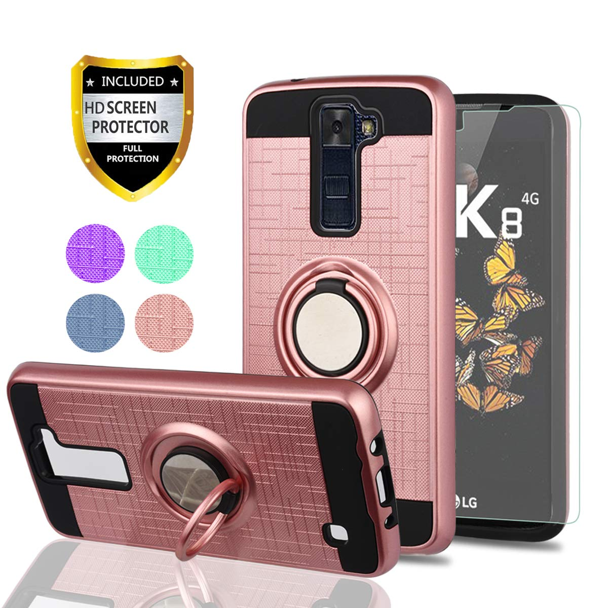 LG Phoenix 2 Case, LG Escape 3 Phone Cases with HD Phone Screen Protector,YmhxcY 360 Degree Rotating Ring & Bracket Dual Layer Resistant Back Cover for LG K8 2016-ZH Rose Gold