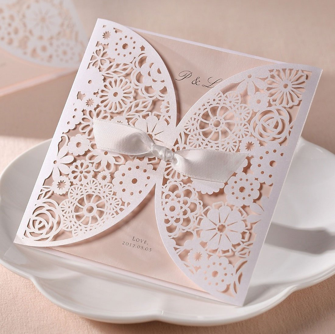 Amazon.com: WISHMADE 50 Count Set Laser Cut Invitations Cards Kits ...