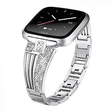 DBoer Compatible Fitbit Versa Correas de Reloj de Plata para Mujeres/Niñas Bling Diamantes de