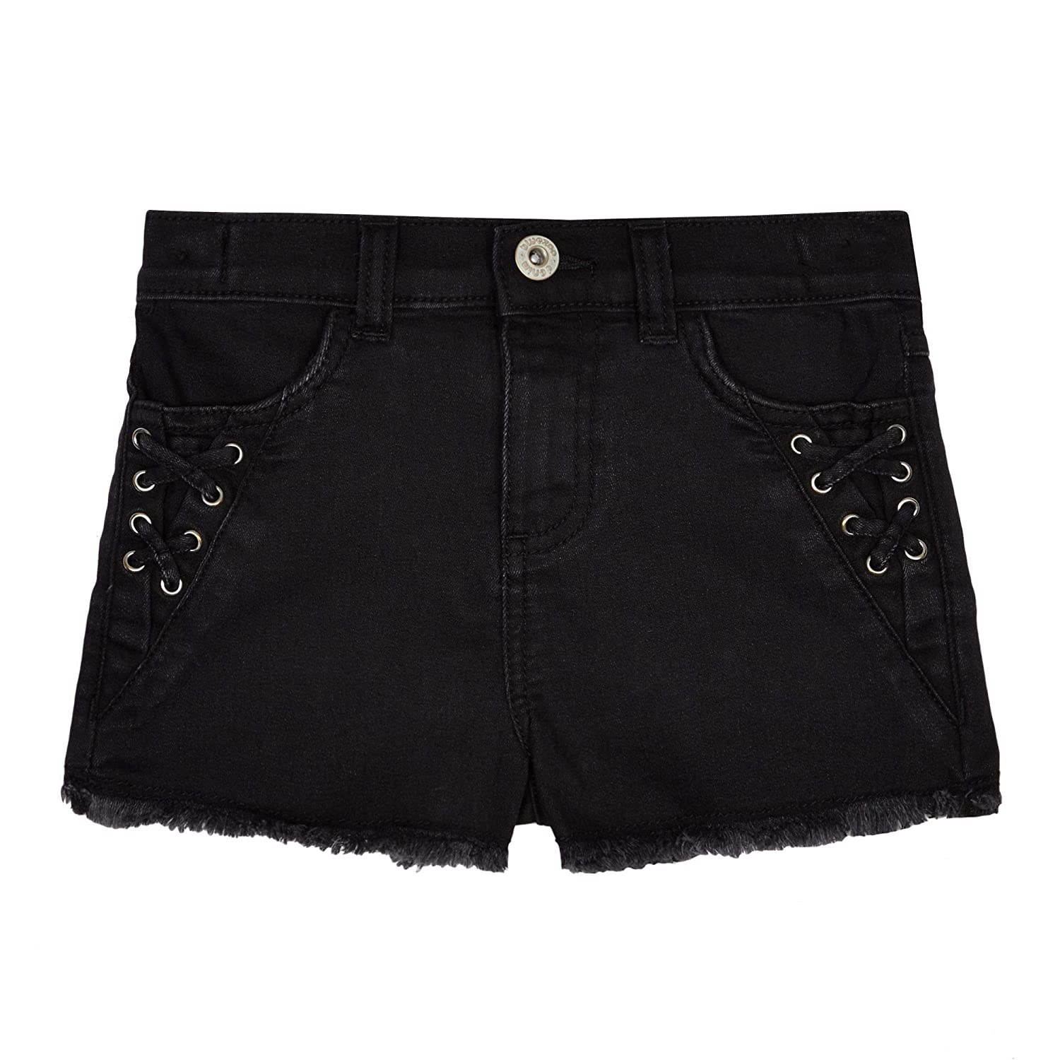 bluezoo Kids Girls' Black Lace Up Detail Denim Shorts