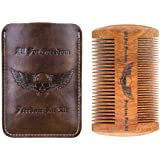 Wooden Beard Comb Kit Handmade Gifts for Men Skull Wings Design Gifts for Dad Mustache Comb for Beard Care & Grooming