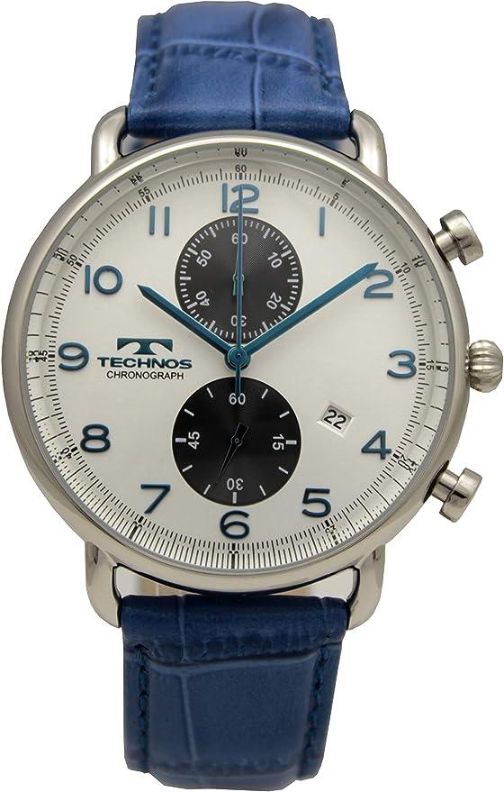 [テクノス] 腕時計 クロノグラフ デイト T6668SS メンズ ブルー