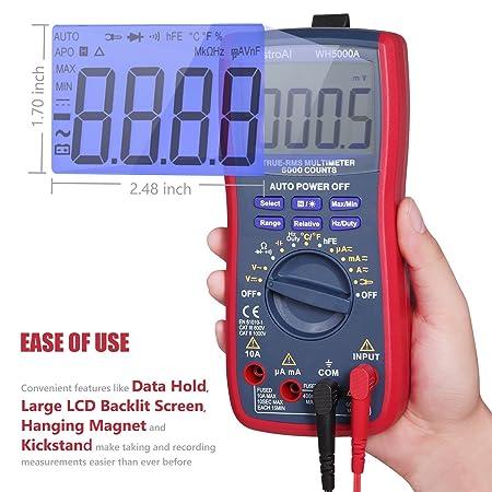 AstroAI Multímetro Digital Profesional Rango Automático 6000 Cuentas, Polímetro Digital True RMS, Temperatura, Frecuencia, Medidor de Corriente Voltaje ...