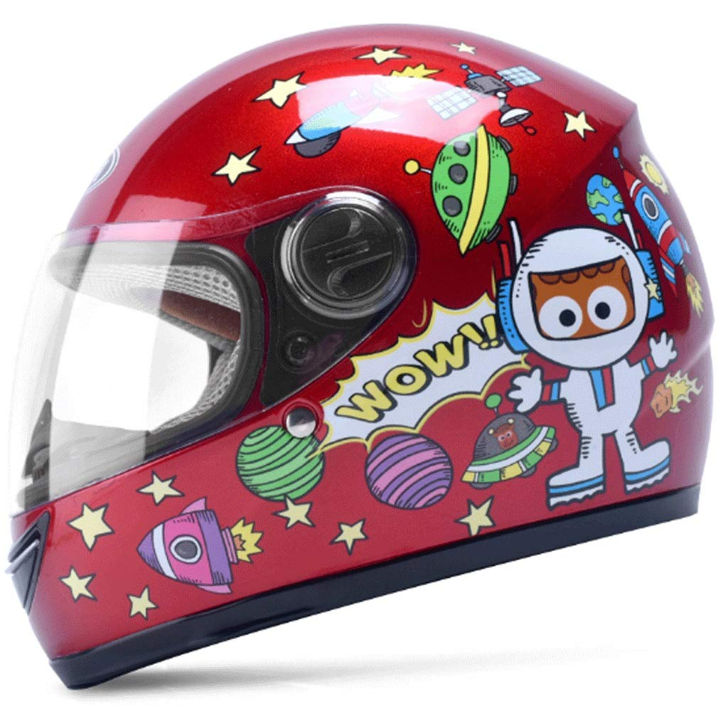 CCF Helmet Children for Electric Motorcycle Full Face Helmet Boy Female Child Baby Cartoon Winter Cute Hard Hat CCFSF (Color : Blue)