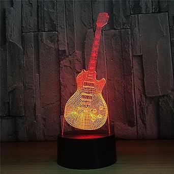 Xh&Yh Guitarra Colorful Gradient 3D Touch Acrílico LED Lámpara Noche Luz, touch