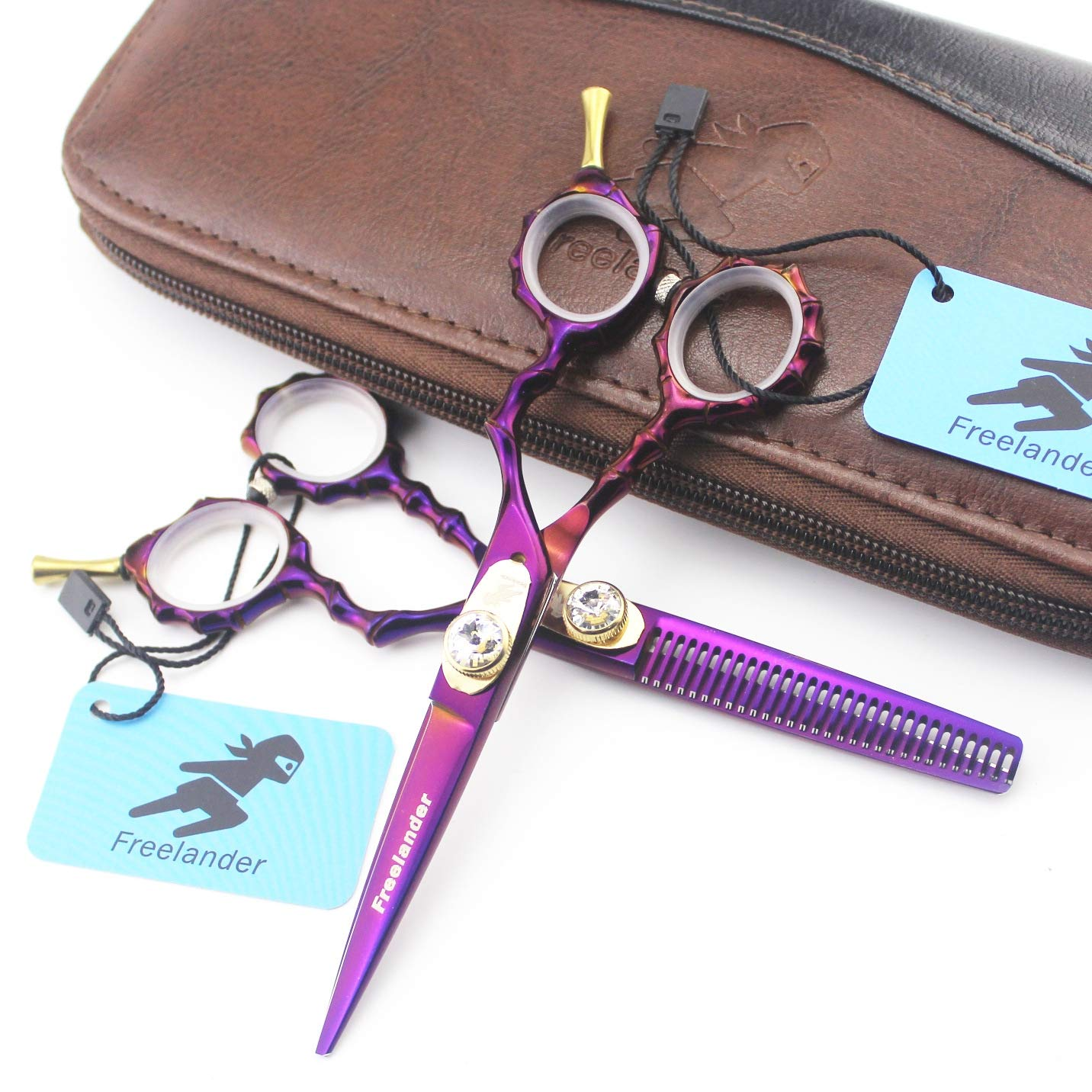 NSST Professional Hair Cutting Set 5.5 Inch, Color Purple Adjustable, Japanese Stainless Steel Household Barber Scissors and Thinning Scissors