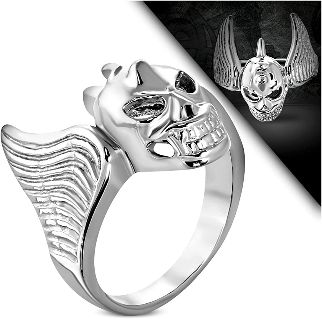 Stainless Steel Bat Wing Vampire Skull Biker Ring