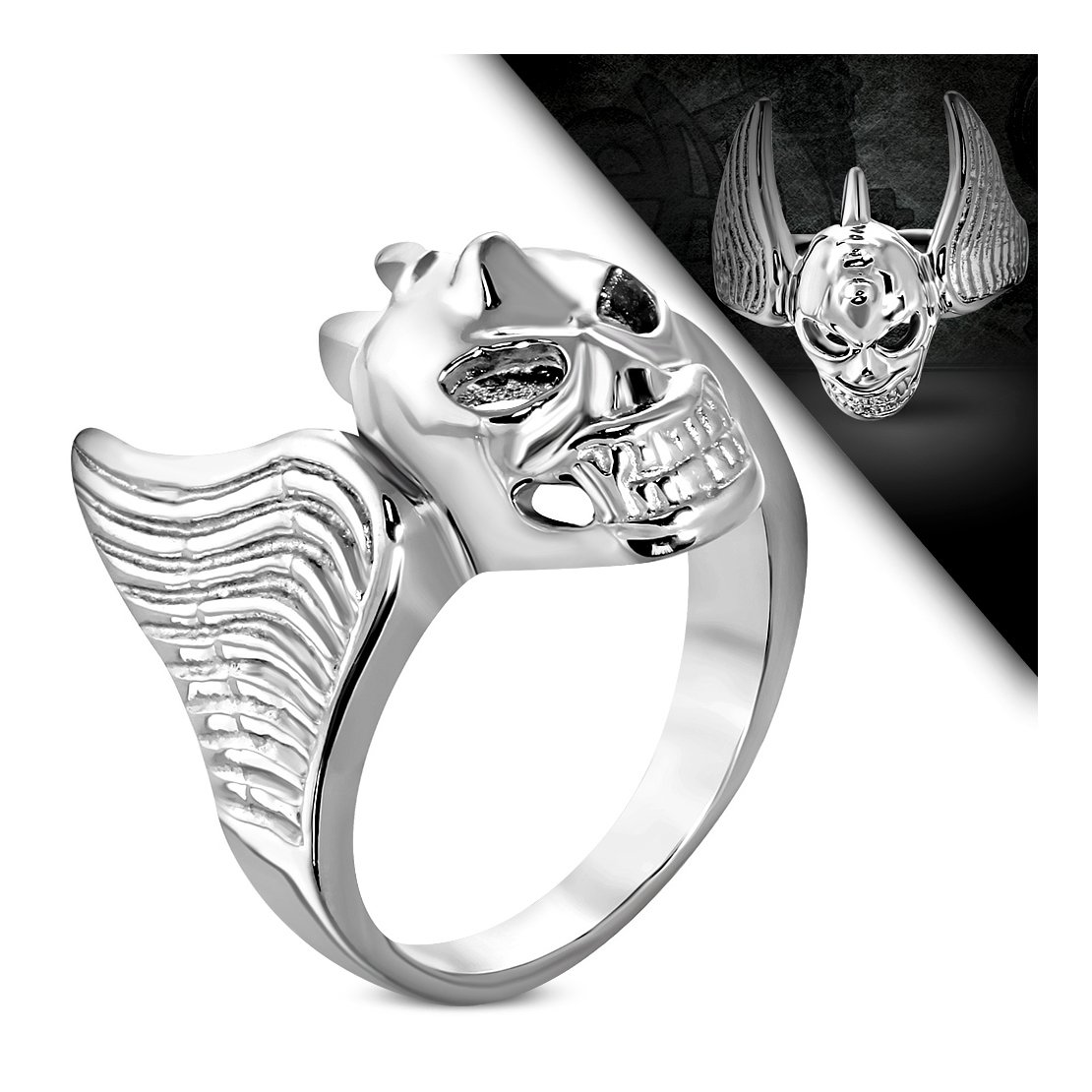 Stainless Steel Bat Wing Vampire Skull Biker Ring