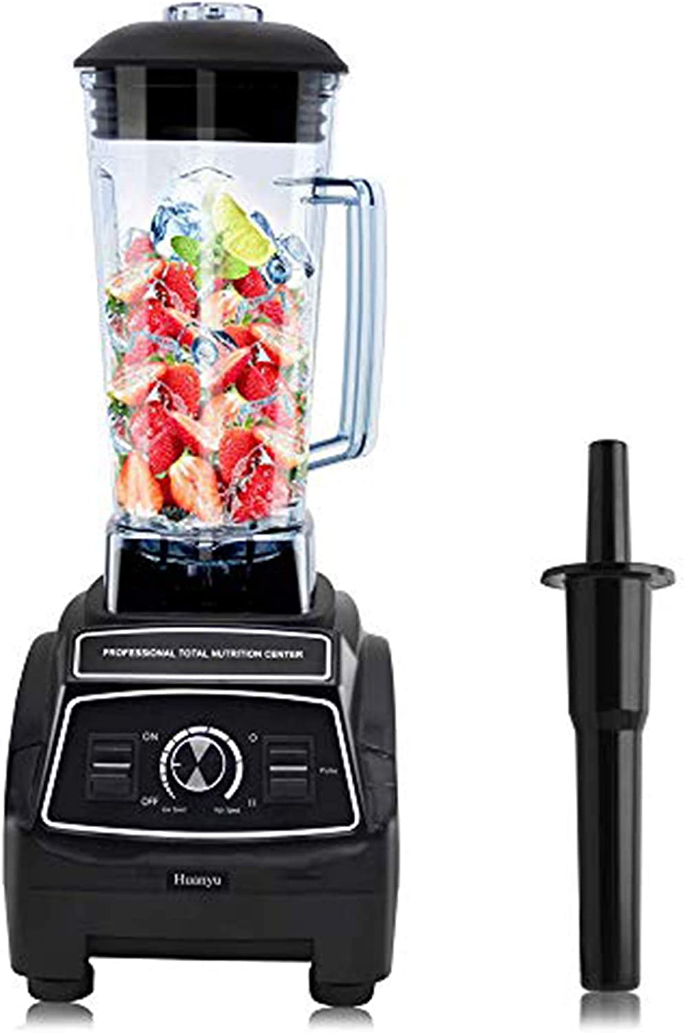 Huanyu 68oz Countertop Blender Professional Smoothie Maker Blender Food Processor Crushing Pitcher for Fruit Smoothie Ice Soy Milk Hot Soups Frozen Desserts Crush Mix Home Commercial (1800W-36000RPM, 110V US Plug)